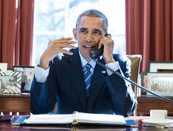Barack Obama on phone