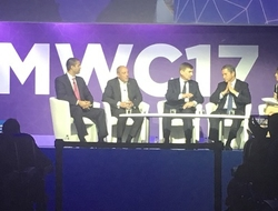 FCC Commissioner Ajit Pai (left) speaks at Mobile World Congress '17