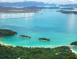 An aerial beach and bay view of Langkawi island in Malaysia