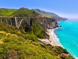 A view of a bridge on Highway 1 over the Big Sur coast