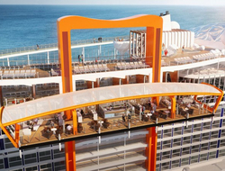 A rendering of Celebrity Edge's new Magic Carpet area, which moves up and down the side of the ship.