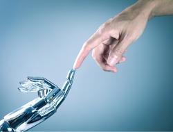 robot finger meets human finger