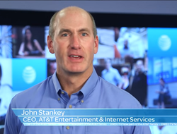 AT&T's John Stankey announces the company's tie-up with DirecTV after the deal completed in late 2015 in a screenshot from a promotional video. Image: AT&T