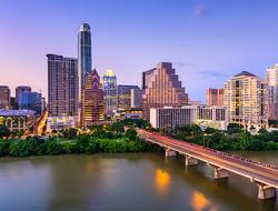 The skyline of Austin, Texas over the Colorado River