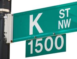 Close-up of K Street sign