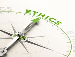 "a compass pointing to ""ethics"""