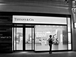 Tiffany & Co. retail storefront in black and white