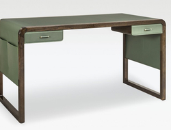 Fashioned of dark elm wood and green leather, Jolie has two drawers, as well as leather pockets on both sides.