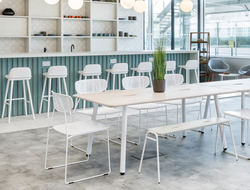 The chair can be customized to suit any style of interior and exterior setting, including kitchens, dining rooms and patios.