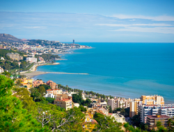 Landscape view of Malaga City, Spain overlooking the sea