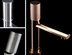 Lollipop's single lever faucet has a no-notch-back tilting handle, which is available with or without diamond knurling details.