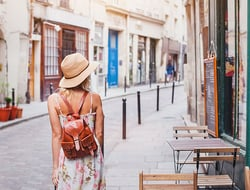 Woman traveling alone in Europe