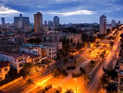 A birds eye view of Havana, Cuba at night