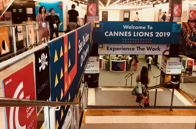 Entrance staircase to Cannes Lions Health at the Palais in Cannes France 2019