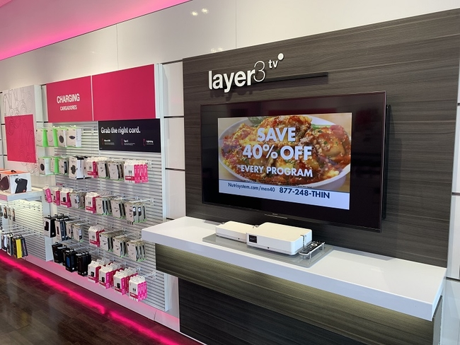 Layer3 TV in T-Mobile store (Mike Dano / FierceWireless)