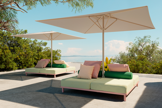 A collaboration with Kettal, the Meteo added three functional adaptations to the parasol's base: a sofa/daybed, a table or a planter.