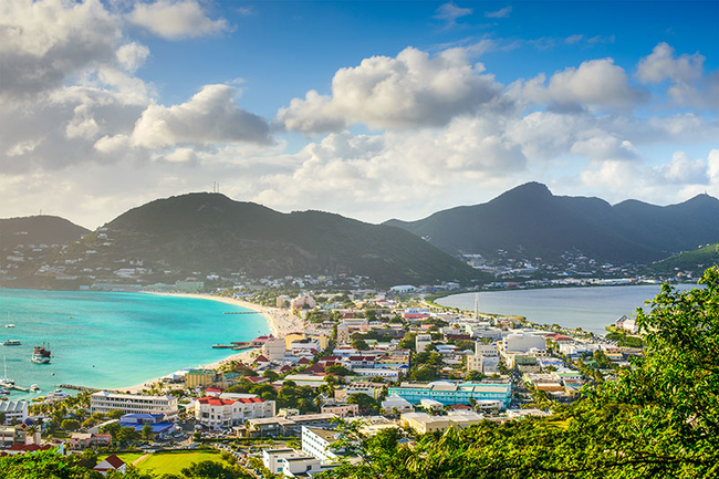 Aerial view of Philipsburg in Saint Maarten