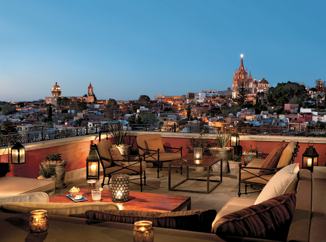 San Miguel del Allende, seen here from a terrace of the Rosewood Hotel, has a diverse population of locals and expats from 63 countries.