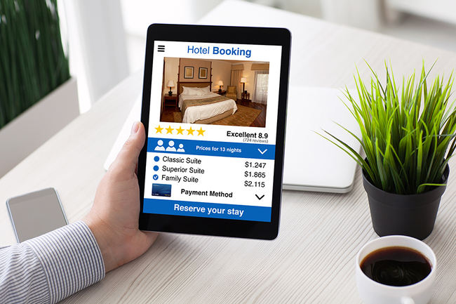 computer screen with hotel booking