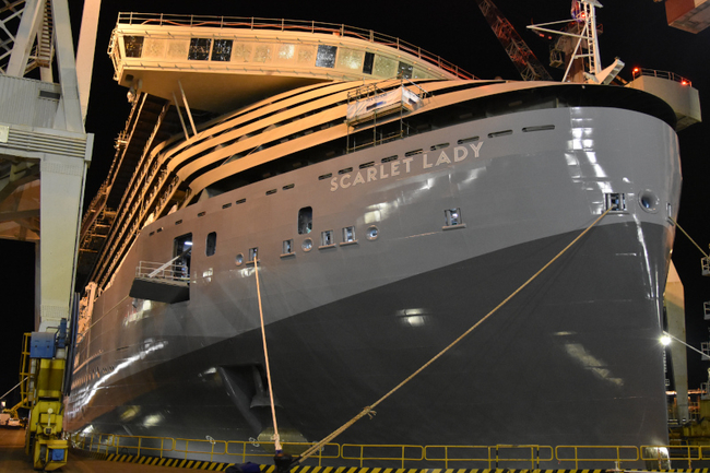 Image of the new Virgin Voyages ship in construction