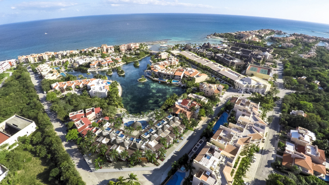 Overhead view of the hotel overlooking the water
