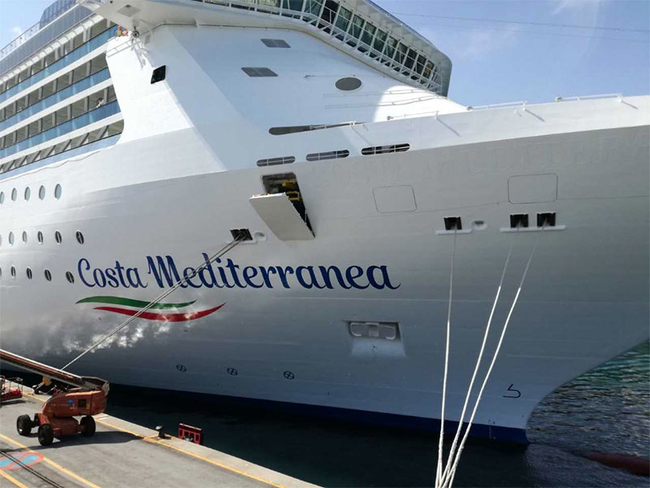 Costa Cruises' new livery on the Costa Mediterranea