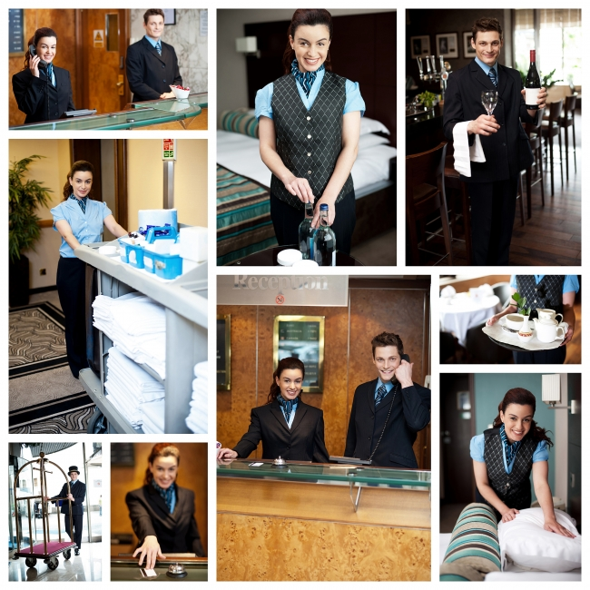 A variety of hotel employees