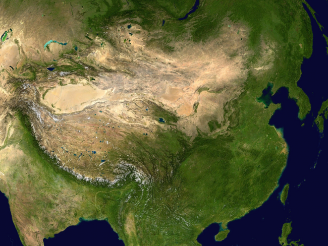Satellite image of China