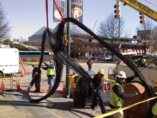 EPB workers install fiber optic cables in Chattanooga. Image: EPB