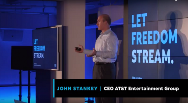 AT&T's John Stankey speaks at the launch announcement of DirecTV Now on Nov. 28, 2016. Image: AT&T / YouTube
