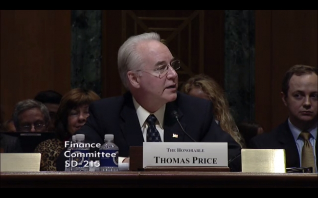 Tom Price speaking at hearing