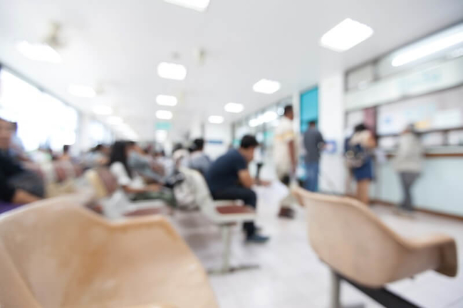 Patients in a hospital waiting room
