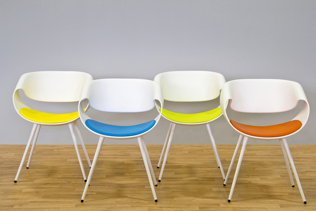 Designed by Martin Ballendat from lightweight poly, the chair has twists and turns that create a sculptural shape.