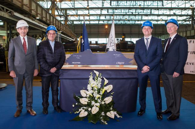 Regent and Fincantieri executives at the Seven Seas Splendor cutting ceremony