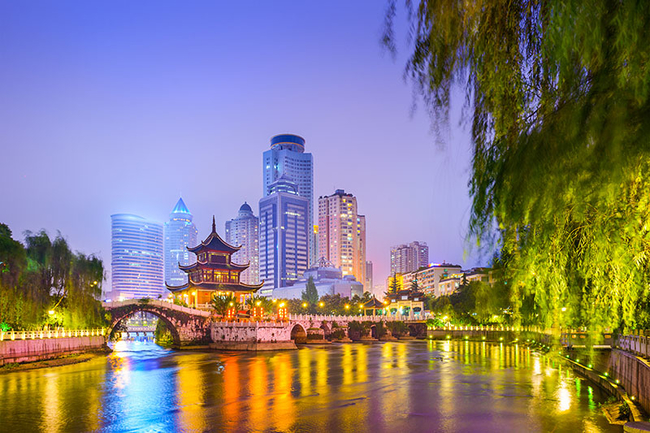 Cityscape of Guiyang, China at night